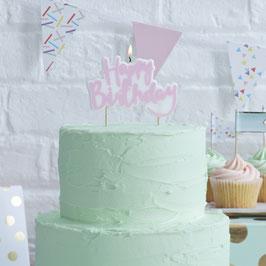 """Bougie """"Happy Birthday"""" écriture rose pour gateau anniversaire"""