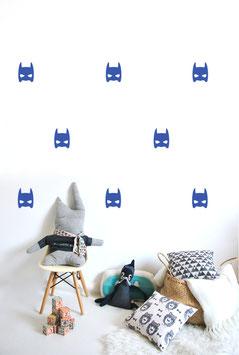 Stickers muraux masques super héros bleus Pom le bonhomme