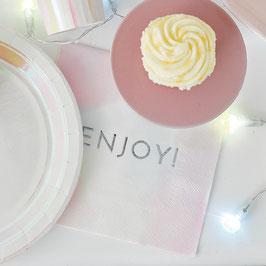 16 grandes serviettes pastels dégradées écriture Enjoy argent