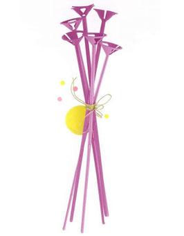 6 Tiges plastiques roses pour ballon gonflables A little lovely company