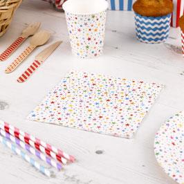 20 serviettes en papier étoiles multicolores