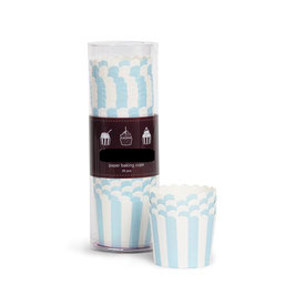 25 coupes à glace ou cupcakes fond ivoire rayures bleu ciel