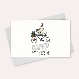 Carte Cigogne avec enveloppe Mathilde Cabanas