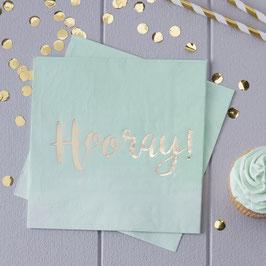 """20 serviettes dégradées vert menthe écriture """"Hooray"""" dorée"""
