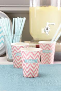 """8 Gobelets pastels chevron rose clair avec écriture """"Drink up!"""""""