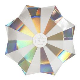 8 grandes assiettes rayées blanc et argent reflets holographiques