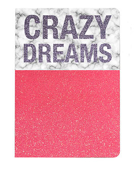 "Carnet pailleté format 12X17.5cms message ""Crazy dreams"""