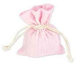 4 Pochons Mousseline de Coton Rose Pastel