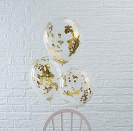 5 ballons transparents avec confettis dorés à l'intérieur