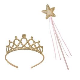 Ensemble baguette étoile dorée et tiare de princesse dorée