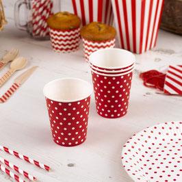 8 gobelets en carton fond rouge pois blancs
