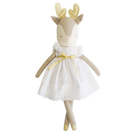 Poupée Biche avec bois dorés et robe broderie blanche Alimrose