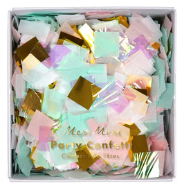 Confettis irisés vert menthe, rose pastel, dorés meri meri