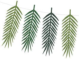 Guirlande 9 Feuilles Tropicales Papier Vertes