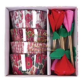 Kit cupcake Liberty avec piques fleurs rouges et roses Meri Meri