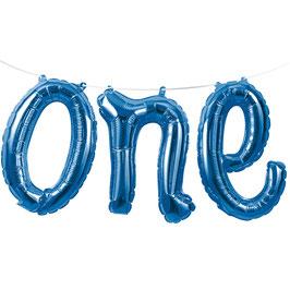 """Ballon métallique  mot """"One"""" bleu"""