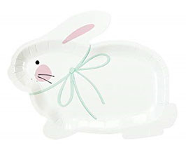 8 Petites Assiettes Lapins Blancs