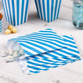 25 sachets en papier rayés turquoise et blanc