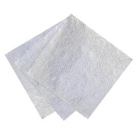 20 serviettes argent avec relief