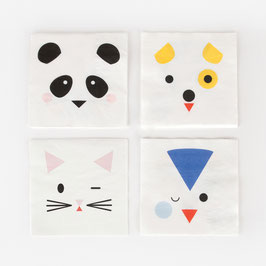 20 petites serviettes animaux kawai my little day