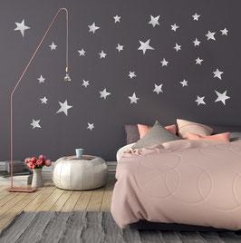 Stickers muraux étoiles argent Pom le bonhomme