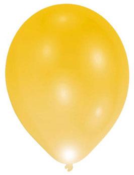 5 ballons dorés en latex avec leds