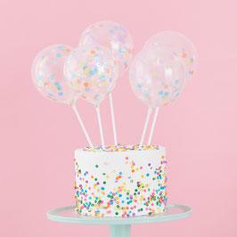 5 Cake toppers Mini Ballons Confettis pastels