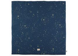 Tapis de jeu et tapis pour tipi carré Colorado marine étoiles dorées Nobodinoz