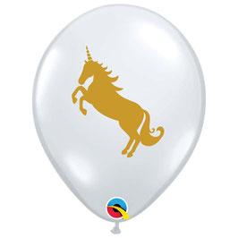 5 ballons transparents avec Licorne imprimée beige