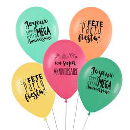 5 ballons anniversaire Tropical