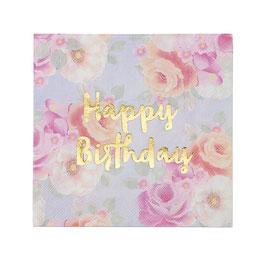 """16 serviettes fleurs pastels écriture """"Happy Birthday dorée"""""""