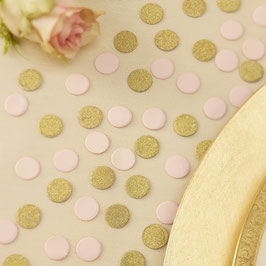 Confettis de Table Rose Clair et Or