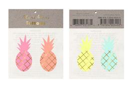 2 planches de tatouages ananas pastels meri meri