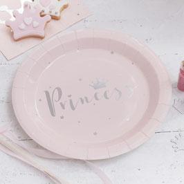 """8 assiettes rose pastel poudré écriture """" Princess"""" argent"""