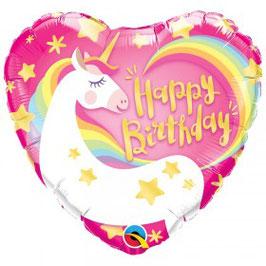 Ballon métallique coeur Licorne Magique Happy Birthday