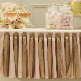 Guirlande décorative en papier de soie rose et mordoré