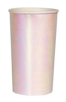 8 grands gobelets blancs irisés meri meri