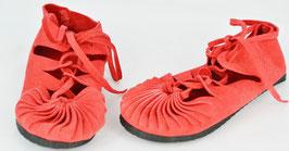 chaussures fille cuir lacées coloris rouge vif