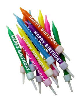 """Bougies anniversaire multicolores """"happy birthday"""""""