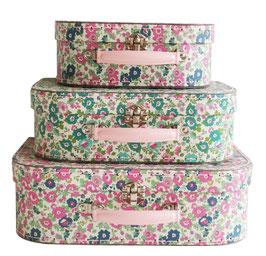3 valises en carton 2 imprimés fleurs