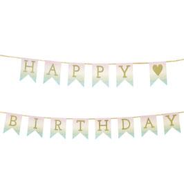 Guirlande pastel dégradée écriture Happy Birthday dorée