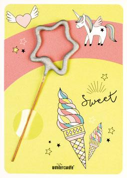Petite Carte Licorne et glace avec bougie magique étoile argent