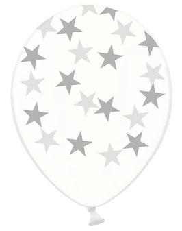 6 ballons transparents imprimés étoiles argent