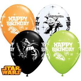 4 ballons blanc, noir, vert, orange Happy Birthday Star wars