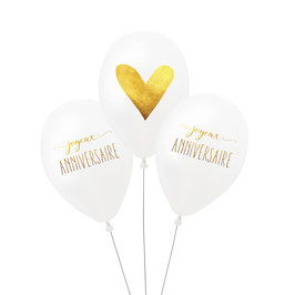 """3 ballons """"Joyeux anniversaire"""" et coeur blanc et or"""