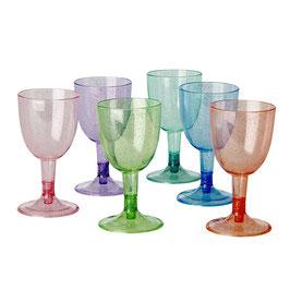 6 verres à pied en plastique pastel avec paillettes, marque Rice