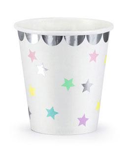 6 gobelets blancs étoiles pastels