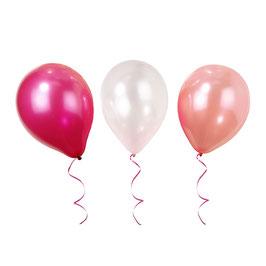 Pack de 10 ballons ivoires, roses et fuchsias métallisés nacrés en latex