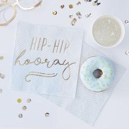 20 Grandes Serviettes Rayures Bleu Ciel Hip Hip Hooray