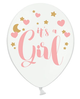 6 Ballons Blancs It's a Girl rose et doré